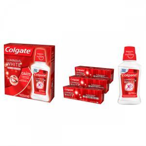 4 Unidades - Kit Creme Dental Colgate Luminous White + Enxaguante Bucal Luminous White 250ml - R$34 (R$8,58 cada)