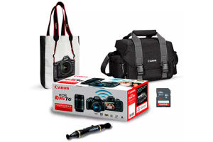 Combo Canon EOS Rebel T6 Premium Kit + Bolsa + Sacola + Caneta Limpadora de Lentes + Cartão de Memória 32GB - R$1995