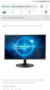 Monitor Samsung curvo 144hz 1 Ms