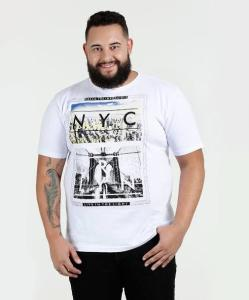 Camiseta Masculina Estampada Plus Size Águia Tex