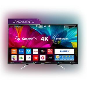 "Smart TV LED Ambilight 55"" Philips 55PUG6212/78 Ultra HD 4k com Conversor Digital 4 HDMI 2 USB Wi-Fi 60Hz - Preto - R$2900"