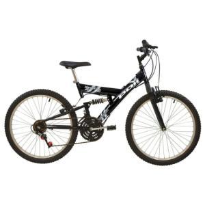 Bicicleta Full Suspension Aro 24 v-Brake 18 Marchas Preta Kanguru- Polimet 7021 - R$489
