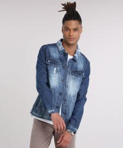 jaqueta jeans masculina trucker destroyed com bolsos azul escuro - R$38