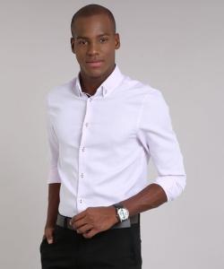 camisa masculina comfort manga longa rosa claro - R$46