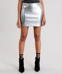 saia feminina metalizada curta prateada - R$18