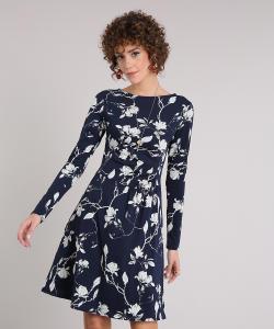 vestido feminino floral curto drapeado manga longa decote redondo azul marinho - R$36