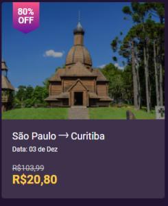 Passagem de ônibus Sao Paulo, SP-  Curitiba, PR - 03/12 - R$20