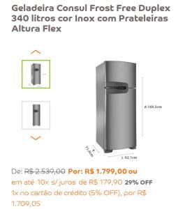 Geladeira Consul Frost Free Duplex 340 litros cor Inox com Prateleiras Altura Flex
