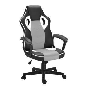 Cadeira de Escritório Presidente Gamer Scifi Preta, Branca e Cinza