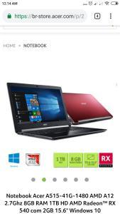 """Notebook Acer A515-41G-1480 AMD A12 2.7Ghz 8GB RAM 1TB HD AMD Radeon RX 540 de 2GB 15.6"""" Windows 10"""