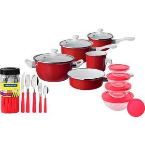 [Cupom primeira compra] Jogo de Panelas Agatha Colors 5 Peças Vermelhas + jogo de potes de vidro + Faqueiro Tramontina  | R$