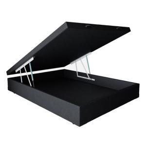 Base para Cama Box Casal Premium com Baú Corino Preto
