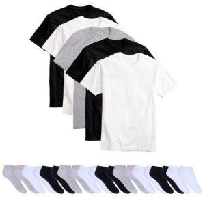 [Cupom para primeira compra] Kit 5 Camisetas Básicas Masculina T-shirt Algodão + 10 Pares De Meias Soquete Colors