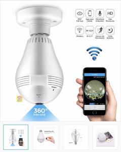 Camera Lampada Alta Definicao 360 Panoramica Espia Wifi Ip Seguraca Vr V380 - R$87