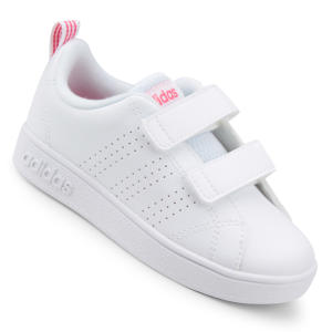 Tênis Infantil Adidas Vs Advantage Clean - Branco e Rosa R$72