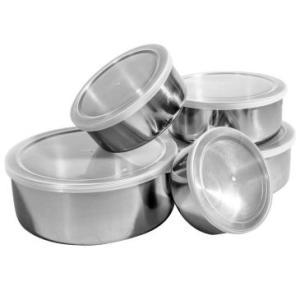 Conjunto De Potes e Tigelas de Aço Inox 5 peças com Tampa Plástica | R$15