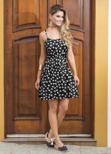 Vestido de Alça Estampa de Laço | R$35