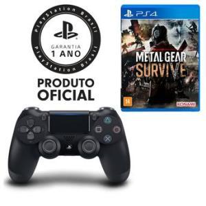 Controle Dualshock 4 Preto Playstation + Jogo Metal Gear Survive - PS4