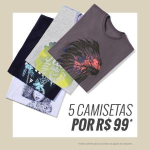 5 Camisetas por R$ 99