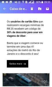 (Usuários do Cartão Giro )30% de desconto para usar em viagens de Uber.