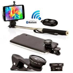 Pau de Selfie bastão monopod com controle e 3 lentes universal - R$30