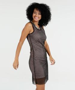 Vestido Feminino Tela Listrado Sem Mangas Marisa