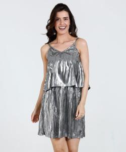 Vestido Feminino Alças Finas Plissado Metalizado Babado Marisa