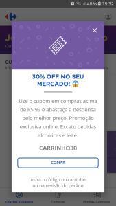 30% Off na categoria de mercado do Carrefour