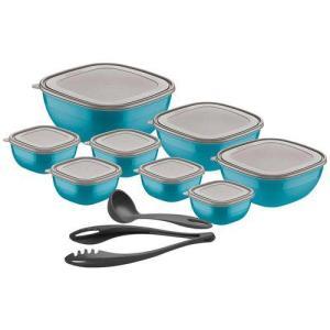 Conjunto de Pote Mixcolor Azul 10 Peças - Tramontina   R$59