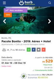 Pacote Bonito - 2019: Aéreo + Hotel POR R$ 529
