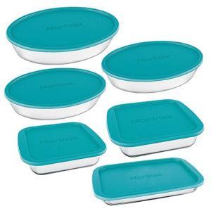 [AME] Conjunto de Assadeiras de Vidro com Tampa Marinex 6 Peças - Azul | R$120