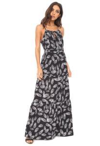 Vestido #MO Longo Estampado - Preto R$56