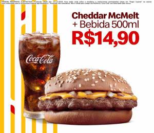Cheddar McMelt + Bebida 500ml no McDonald's - R$14,90