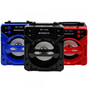 Caixa de Som Portátil Briwax 13cm MF-1609 Preta Amplificada Bluetooth USB MP3 Rádio FM SD | R$28