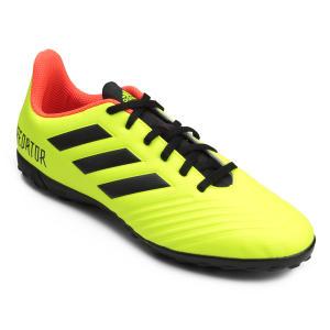 Chuteira Society Adidas Predator Tan 18 4 TF Masculina - Amarelo e Preto - R$120