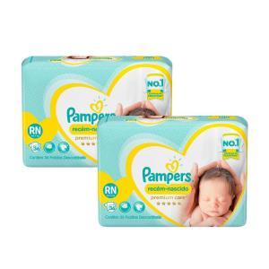 Kit Fralda Pampers Premium Care Recém Nascido com 72 unidades - 2 à 4,5Kg R$56