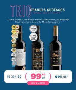 Evino- Kit 3 vinhos - 69% OFF + Cupom 50R$