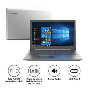 "Notebook Lenovo Ideapad 330 i7-8550U 8GB 1TB GeForce MX150 2GB Tela 15.6"" - R$ 2.563"