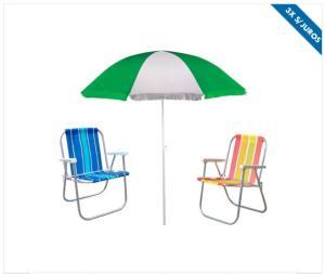 Kit praia com Guarda-Sol + 2 Cadeiras dobráveis