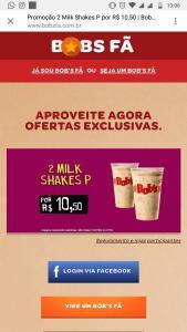 Promoção oferta Bob's 2 Milk shakes P por 10,50