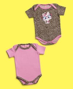 Kit de 2 Bodies Bebê Oncinha Rosa - Puket R$40