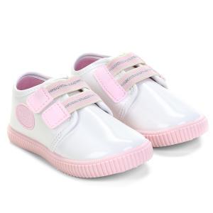 Tênis Infantil Pimpolho Velcro Feminino - Branco e Rosa R$25