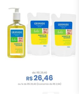 Kit Sabonete Líquido Granado Bebê Glicerina 250ml + Refil 2 Unidades