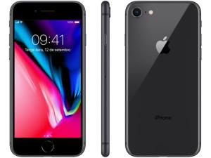 "iPhone 8 Apple 64GB Cinza Espacial 4G Tela 4,7"" - Retina Câm. 12MP + Selfie 7MP iOS 11 | R$2.849"