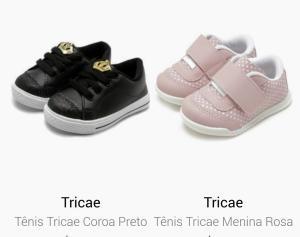 2 tênis infantis por R$75 na Tricae
