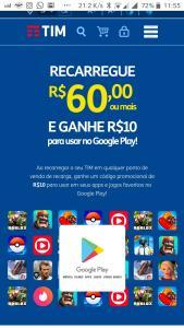 RECARREGUE R$60,00ou mais E GANHE R$10 para usar no Google Play!