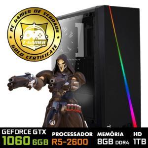 PC GAMER STREAMER LVL-1 AMD RYZEN 5 2600 3.4GHZ R2L / GEFORCE GTX 1060 6GB / 8GB DDR4 / HD 1TB R$3389