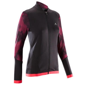 Jaqueta Cardio Training Feminina 500 Preto com Estampado Rosa Domyos FJA 500 W JACKET BLK - R$70