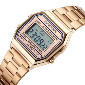 SANDA 405 Relógio Digital Luxo Multifuncional Aço Inoxidável Correia Negócios Homens relógio de pulso