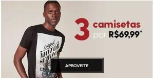 3 camisetas masculinas selecionadas por 70 reais